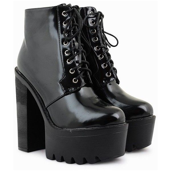 Shay Patent Cleated Platform Boots (53 CAD) ❤ liked on Polyvore featuring shoes, boots, patent leather boots, black laced shoes, chunky lace up boots, black boots and lace up boots