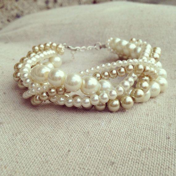 Braided cuff ivory pearl bracelet