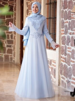 389e4476cb Baby Blue - Fully Lined - Crew neck - Muslim Evening Dress