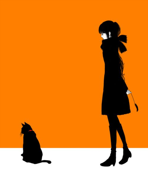 black cat and girl against orange background - illustration