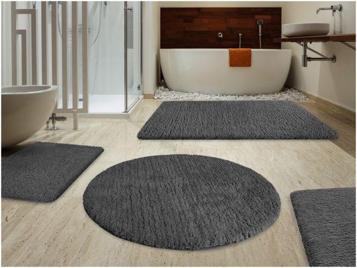 5 Piece Gray Bathroom Rug Set