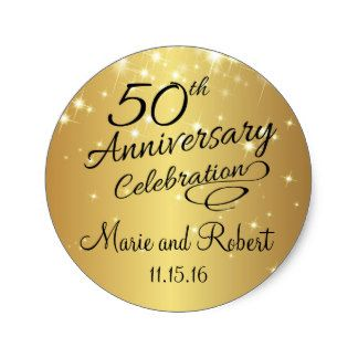 Golden 50th Wedding Anniversary Stickers perfect for celebrating with this elegant favor seal.