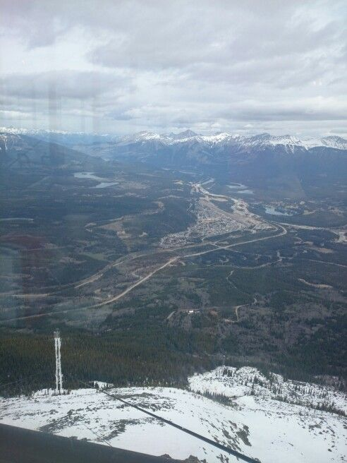View of Jasper townsite from Whistlers, sky tram chalet