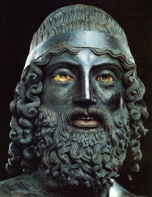Riace bronzes about 460–450 BC, first discovered in 1972, Museo Nazionale della Magna Grecia, Reggio Calabria, Italy.