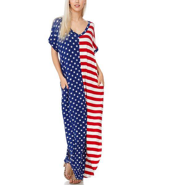 Reborn J Red, White & Blue Stars & Stripes V-Neck Pocket Maxi Dress ($30) ❤ liked on Polyvore featuring dresses, long dresses, blue and white maxi dress, red v neck dress, red maxi dress and stripe dresses