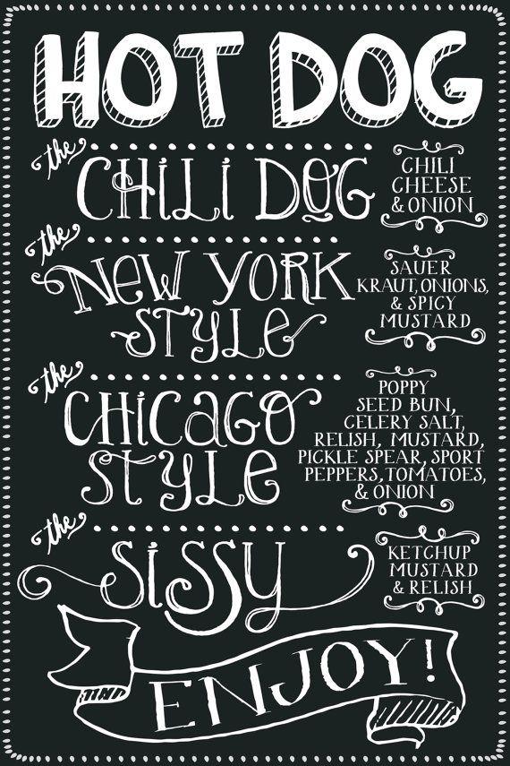 HOT DOG MENU /// Chalkboard Style Custom Party Decor 12 X 18 Print