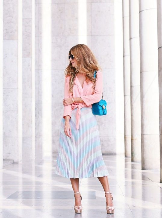 Pink blouse+blue and pink pleated midi skirt+golden ankle strap heeled sandals+blue shoulder bag. Late Summer Semi Formal Event/ Lunch Outfit 2017
