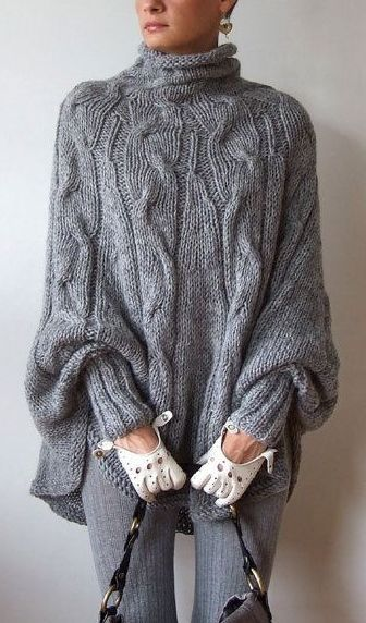 Hand-knitted Poncho/Cape Sweater:
