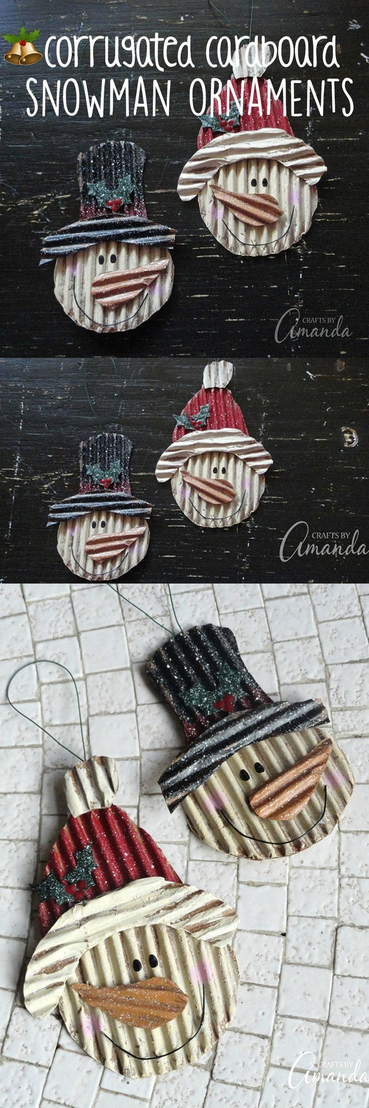 I adore snowmen, and every year I try to make at least one new snowman ornament. These corrugated cardboard snowman ornaments are one of my favorites!
