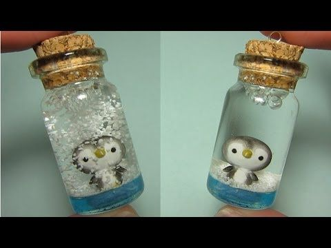 ▶ Penguin Mini Snow Globe: Bottle Charm (Polymer Clay)