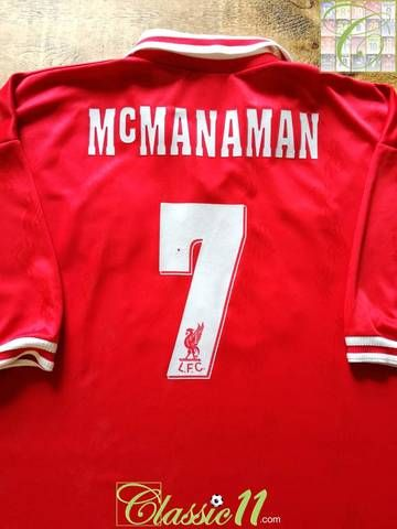 709acdbf1 Official Reebok Liverpool home football shirt from the 1996 97 season.  Complete with Mcmanaman  7 on the back of the shirt in original lettering.