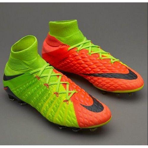 Nuovi Nike Hypervenom Phantom III DF FG Verde Arancia Scarpe Da Calcio