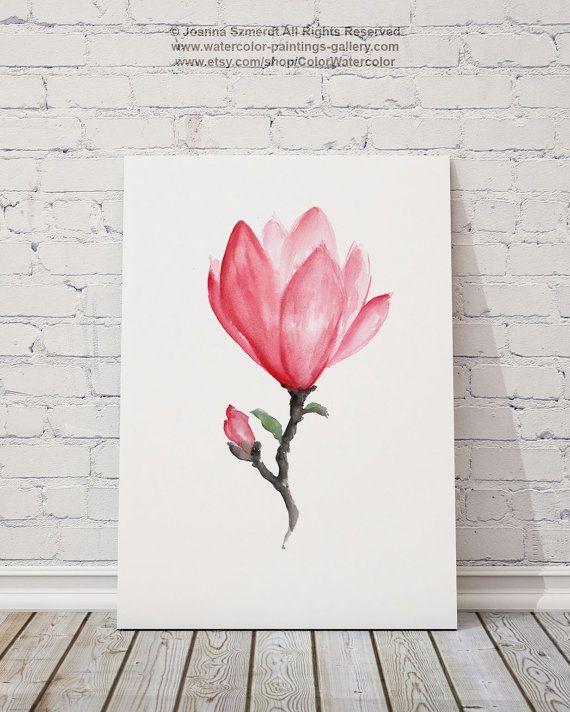 Cadeaux de fête des mères aquarelle rose d'art de magnolia par ColorWatercolor #magnolia #f …  – Etsy.com Group Board