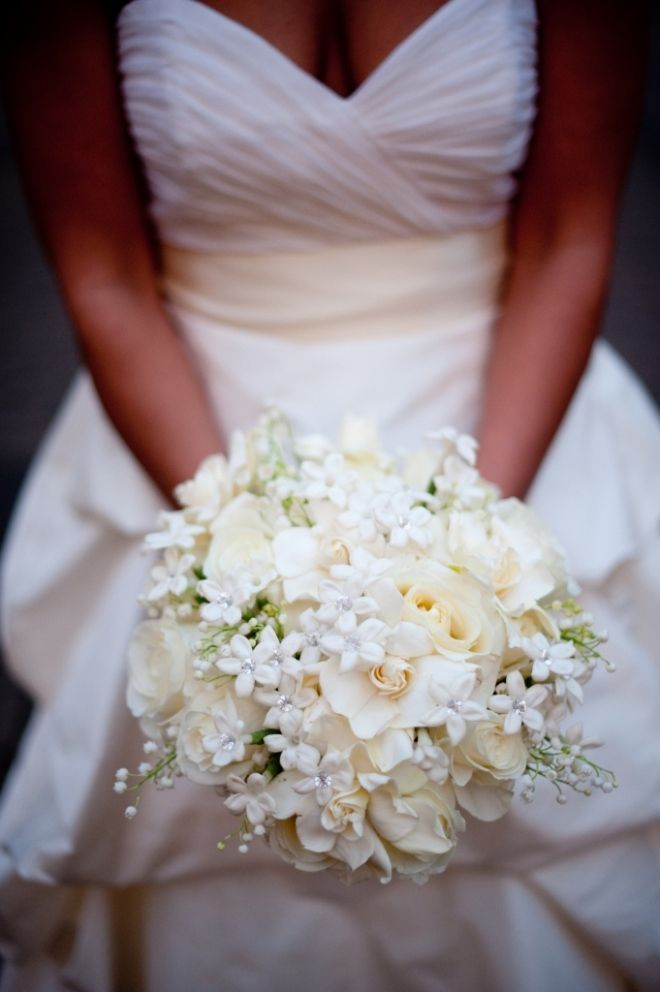 Bouquet with White Stephanotis, Creamy Gardenia, Ivory Roses and Fragrant Lily of the Valley (All white, no cream please)