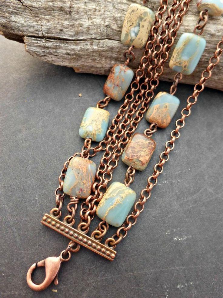 Ocean Jasper gemstone and copper metal bracelet. Multi strand copper chain, stone jewelry.