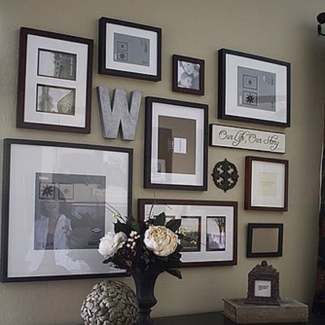 Looking to do a collage with family and wedding pics in our living room! :)