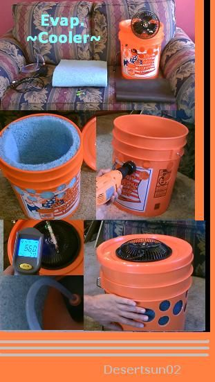 How to make an Evap./Swamp Air Cooler using a 5 gallon bucket. Evaporative Cooler works very well. easy to make. powerful breeze. low temps. for even more cooling add ice to the water.  holds 2 gallons of water at a time. takes about 15 watts of power to run. can be solar powered youtube desertsun02