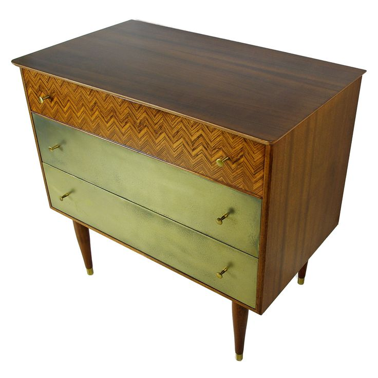 #midcentury #brass coated upcycled chest of drawers from www.emmabyer.co.uk