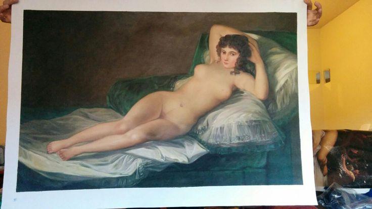 La Maja Desnuda, Goya. Copia del quadro originale realizzata a mano.