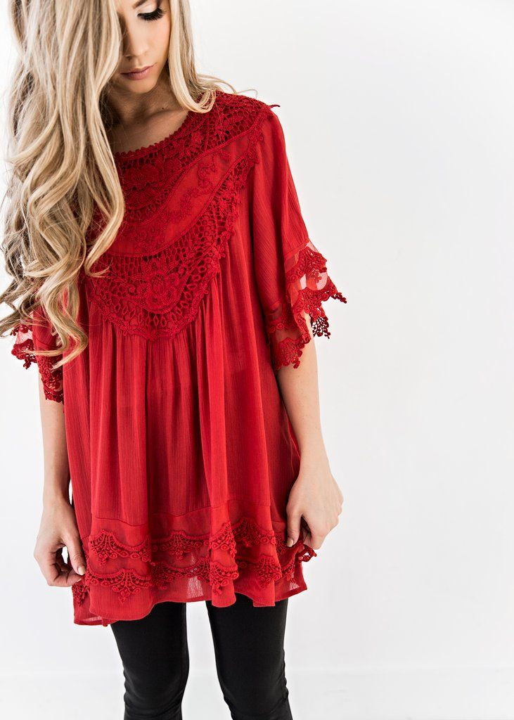 Valentines Day Gifts For Her, JessaKae, New Arrivals, Lace, Red, Top, Fashion