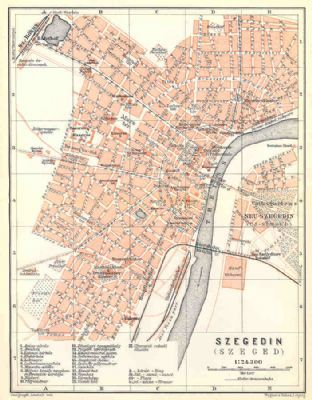 Hungary 1911: SZEGED SZEGEDIN. Old Vintage City Plan Map.