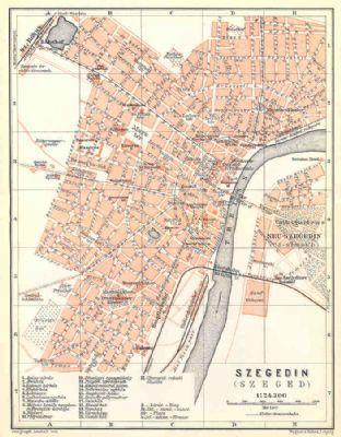 Hungary 1911: SZEGED SZEGEDIN. Old Vintage City Plan Map.