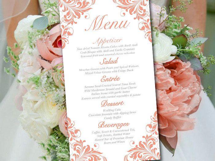 Coral Wedding Menu Card Template - Entree Card Template ...