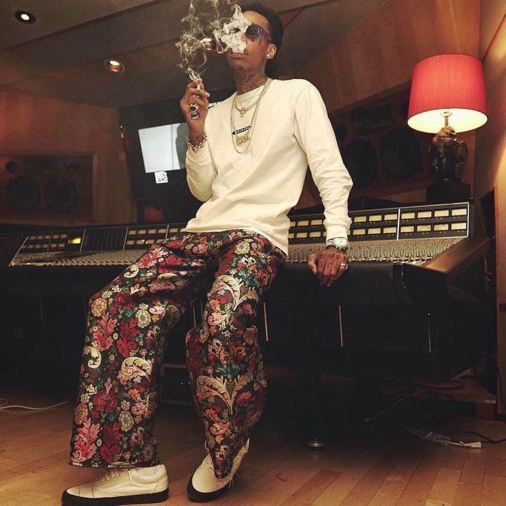 Wiz Khalifa Rocks Supreme T-Shirt, Marques Almeida Oversized Pants And Vans Sneakers