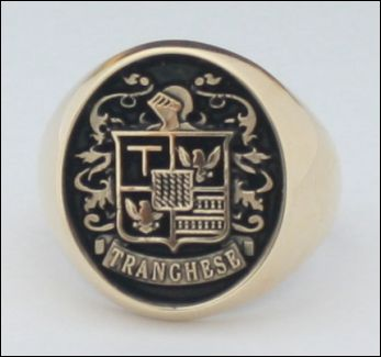 Tranghese Crest yellow gold right with black antiquing
