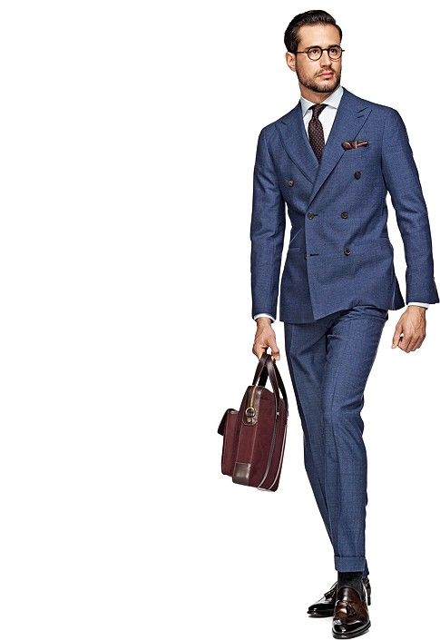 ダブルスーツ着こなしグレーのSuit Blue Plain Soho P3728 | Suitsupply Online Store