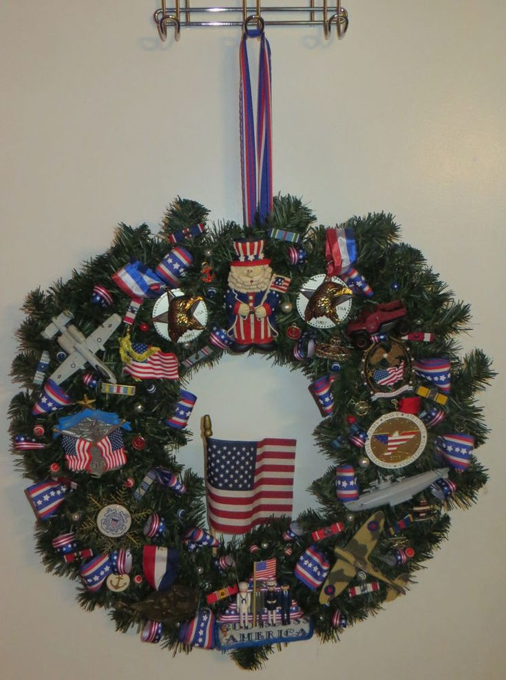 "US Armed Forces Wreath 21"" Patriotic Flags Army Navy Air Force Marines Military #Unbranded"