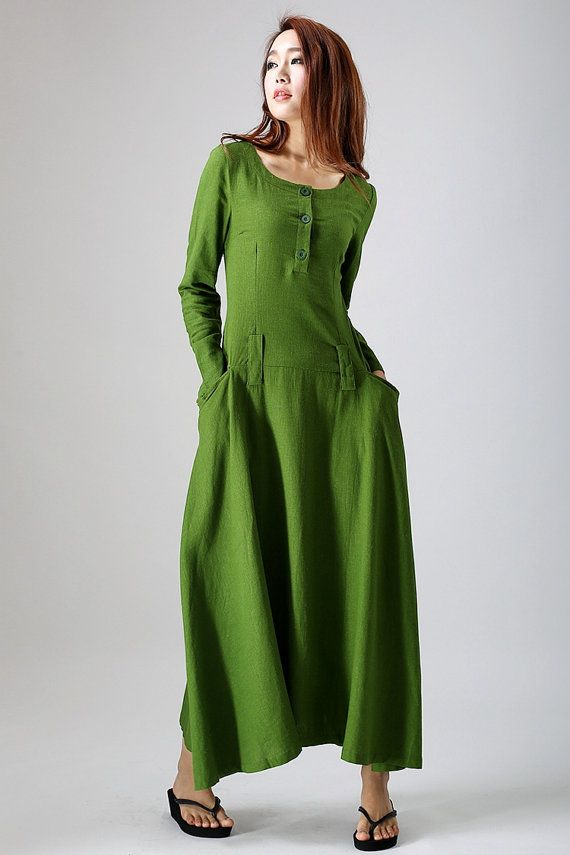 Leaf green long-sleeved linen dress woman's maxi by xiaolizi