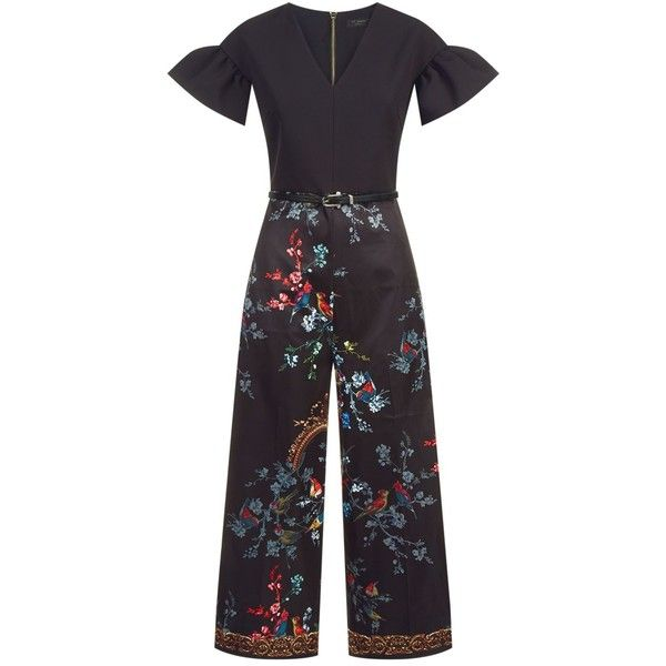 Ted Baker Memsi Floral Jumpsuit ($265) ❤ liked on Polyvore featuring jumpsuits, v neck jumpsuit, floral wide leg jumpsuit, jump suit, ted baker and floral jumpsuit