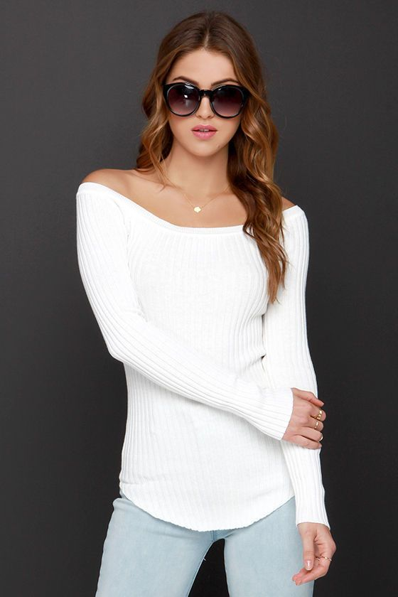 From Bricks To Billboards Ivory Off-the-Shoulder Sweater Top