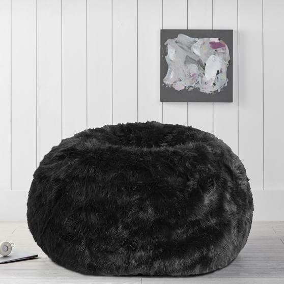 The Emily Meritt Black Faux Fur Beanbag