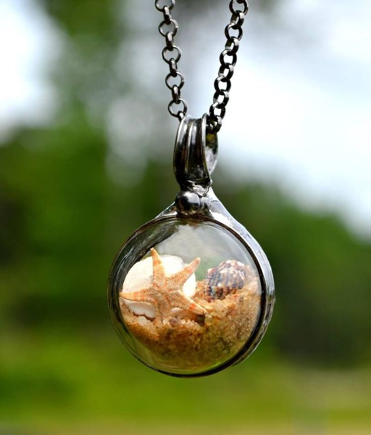 Sand Terrarium Necklace, Sand Glass Necklace, Beach Jewelry, Starfish, Sand Dollar, Seashell, Pendant Necklace, Terrarium Necklace (2707)