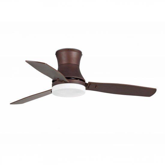 VENTILADOR de techo con luz TONSAY 33386 • Motor de acero. Acabado color marrón oscuro. Difusor de cristal opal. • 3 Palas de madera PLYWOOD. Reversibles. Acabado de las palas color cedro / wengué. • Este ventilador tiene función inversa verano/invierno, por lo que podrá utilizarlo también en invierno mejorando la eficiencia de su sistema de calefacción. • Con luz. 2 Bombillas x E27 máx. 15w no incluidas. • Accionado por mando a distancia incluido