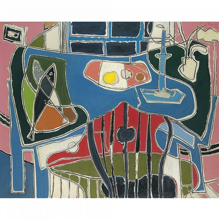PATRICK HERON 1920 - 1999 THE BLUE TABLE WITH WINDOW: 1954 signed and dated 54 oil on canvas 102 by 127cm.; 40 by 50in.