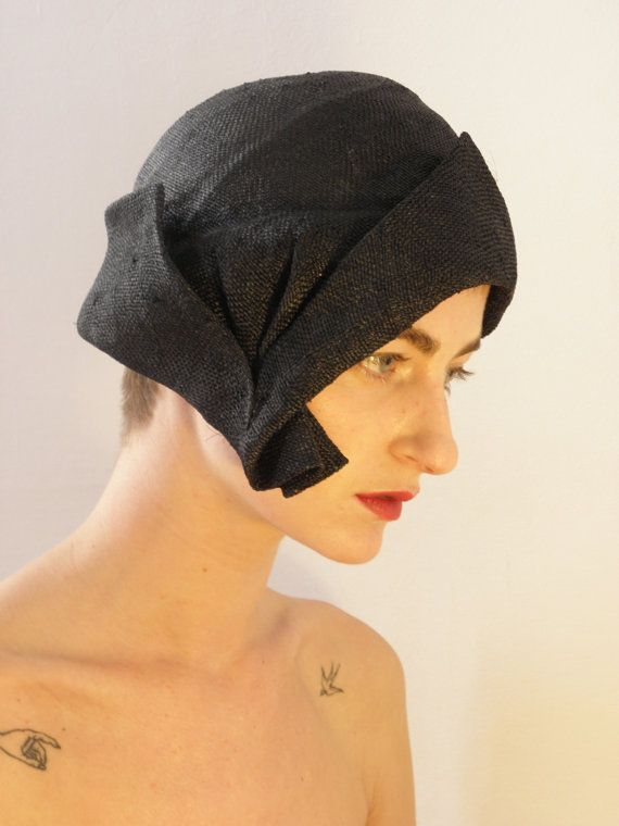 Black 1920's Flapper Style Hat handmade straw Hat by ElenaMassari, $275.00