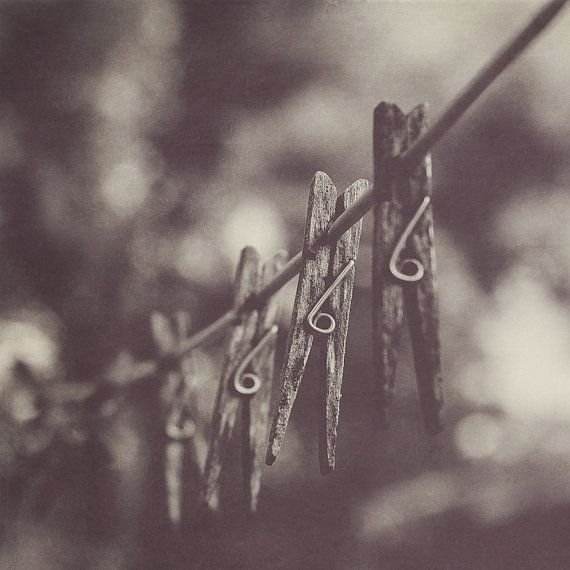 Clothespin Black & White Photograph | Wall Art | Home Decor | Affordable Art | Laundry Room Decor | Wash | Rustic | Clothesline | Nostalgia