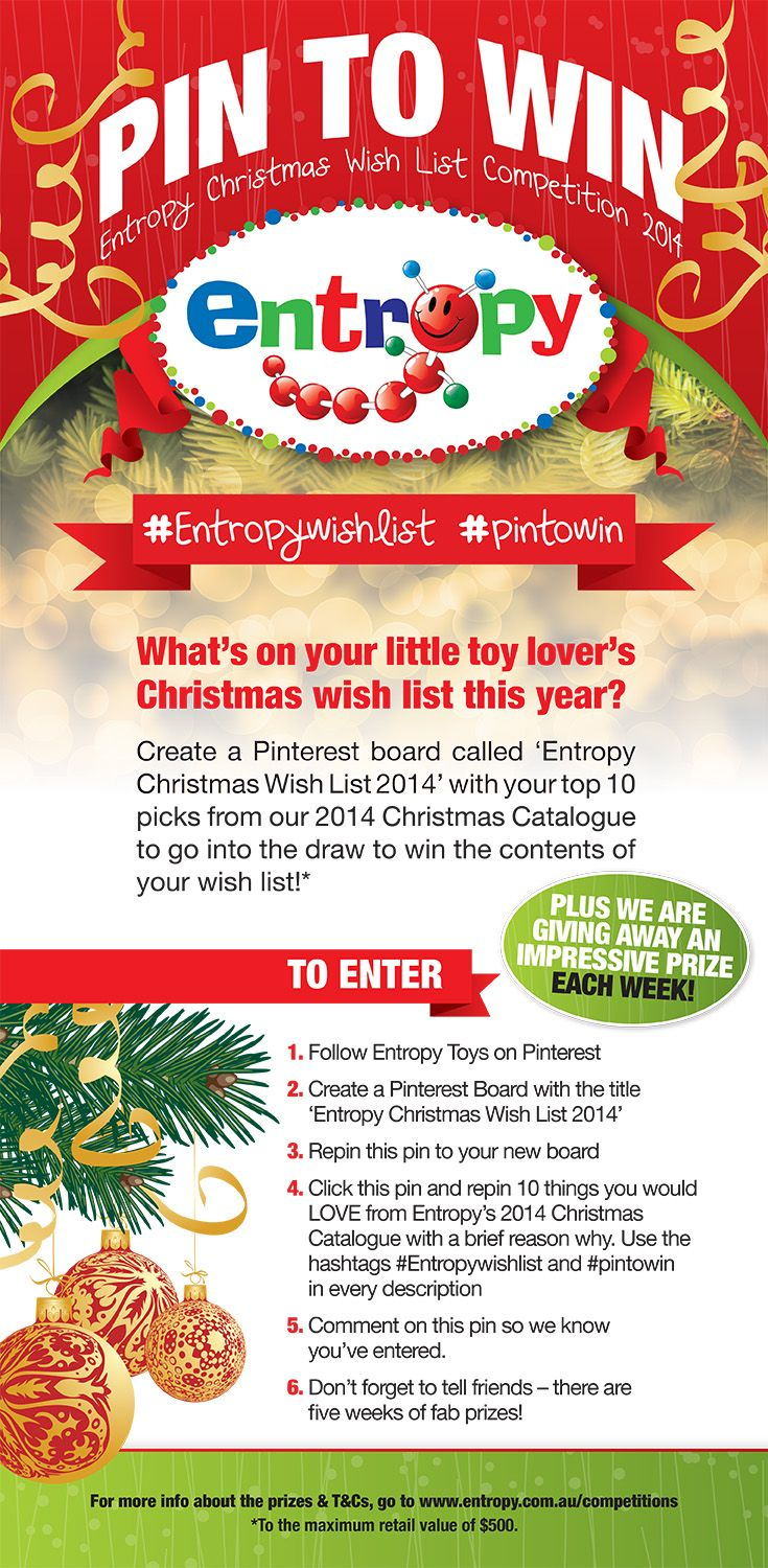 It's time for the excitement of our Entropy Christmas Wish List Competition again! For How to Enter read this graphic, or head here for the full T&Cs: http://www.entropy.com.au/competitions. There's an amazing prize to be won every week with a chance to ultimately win your Entropy Wish List, so happy pinning! #EntropyWishList #PintoWin