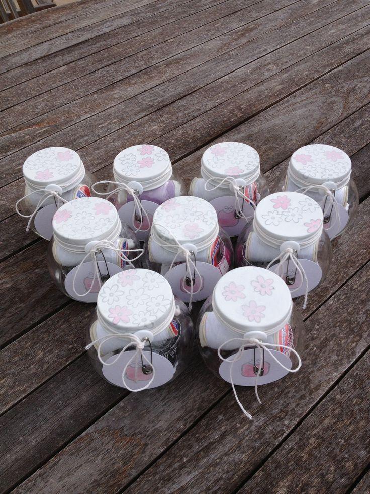 Costureros en frascos de vidrio para bolos de bautizo - Frascos de vidrio decorados ...