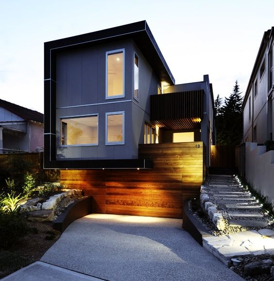 Australian Design: Light Box  love the entrance, concealed garage door and stepped walkway
