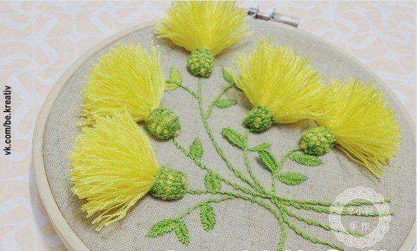 Одуванчики. Объемная вышивка - Рукоделие