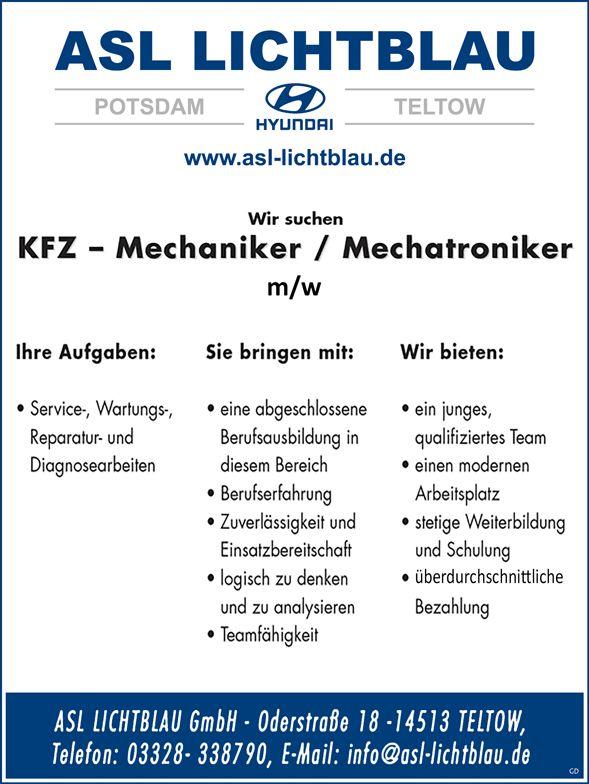 KFZ-Mechaniker / Mechatroniker m/w