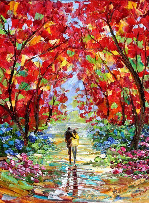 Custom Original Oil Painting Commission - Romance Landscape - impressionistic fine art by Karen Tarlton. $135.00, via Etsy.