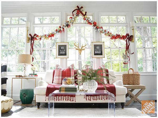 There's nothing prettier than a giant ornament garland over a beautiful wall of windows!
