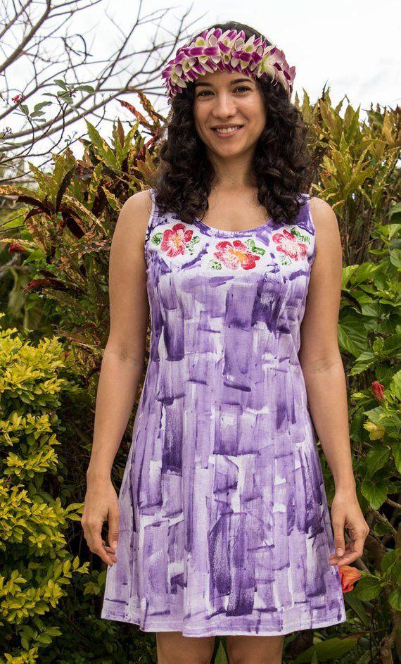 83bf1a3782 Kauai Hand Painted Dress Plus Size Resort Wear Hawaii Dress ...