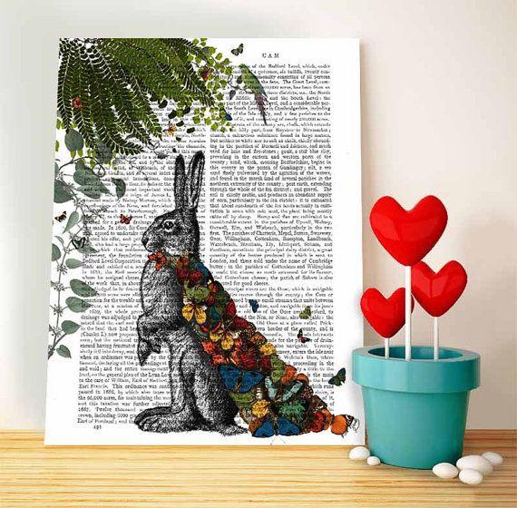 Hare Print & Butterfly Cloak: Wall Art Print por DottyDictionary