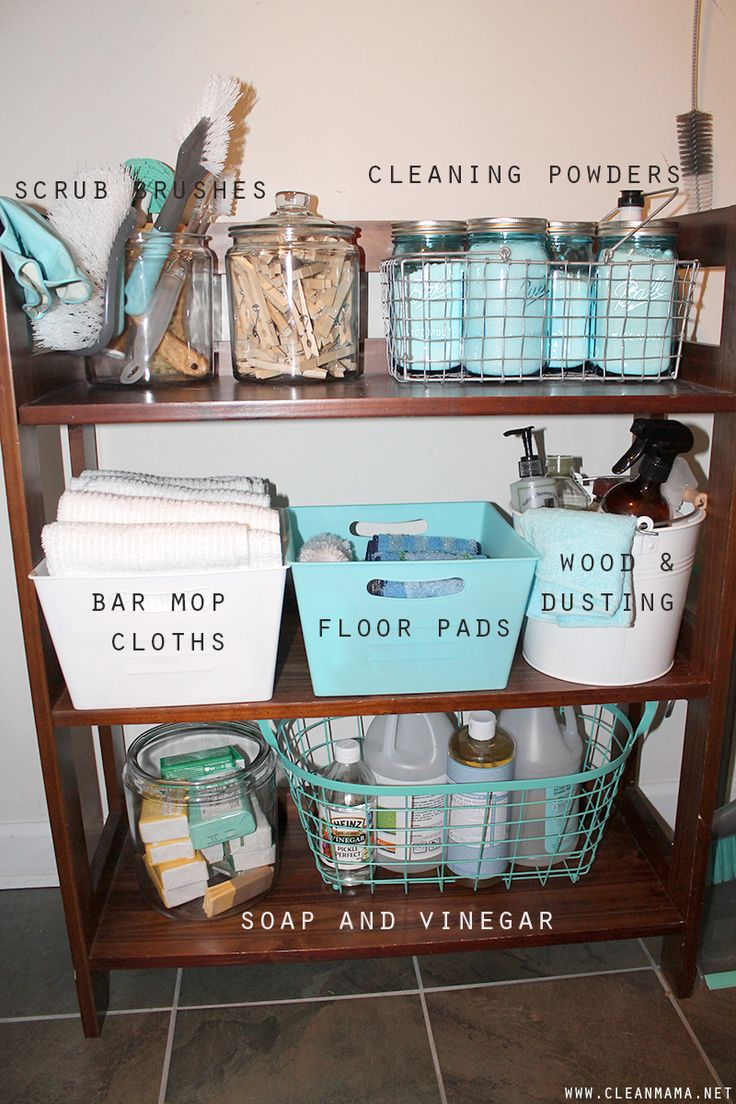 Repurpose an unused bookcase in to a cleaning supply organizer. Cleaning Closet Shelf Details via Clean Mama